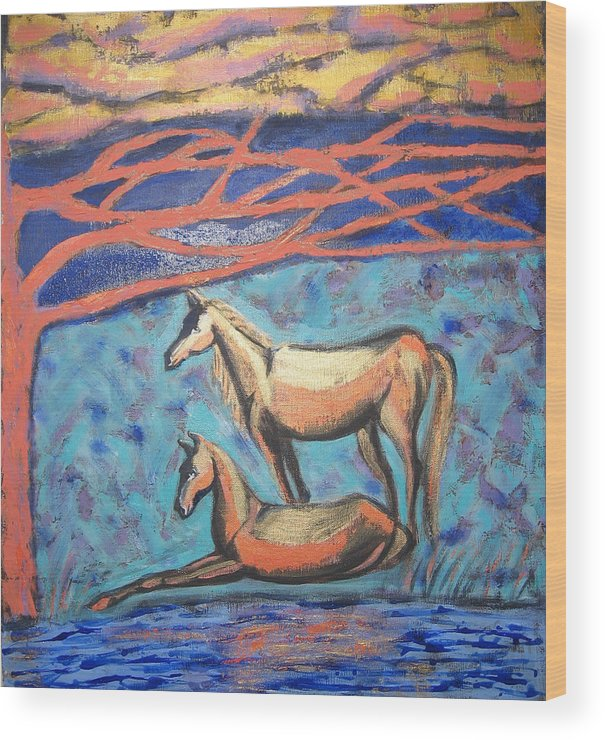 Horse Wood Print featuring the painting Chinook Is Coming by Aliza Souleyeva-Alexander