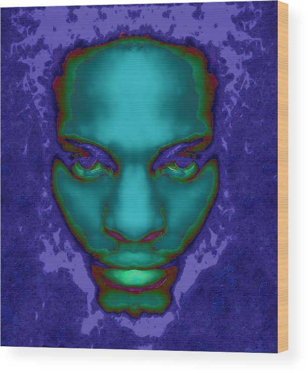 Male Abstract Portrait Wood Print featuring the digital art Emerge by Devalyn Marshall