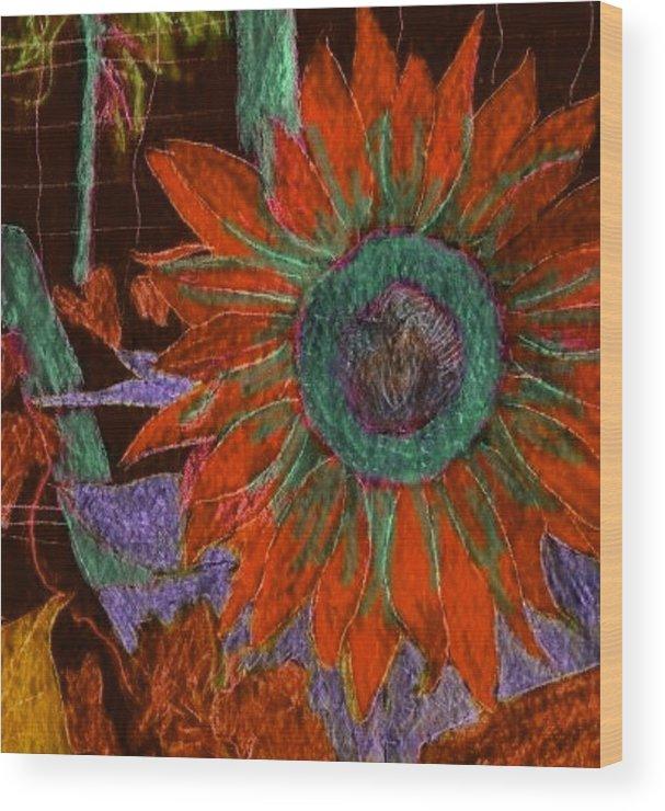 Digital Art Wood Print featuring the digital art Fall Sunflower by Margie Byrne
