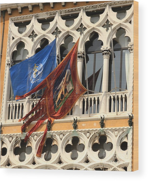 Venice Wood Print featuring the photograph Flags On Palazzo In Venice by Michael Henderson