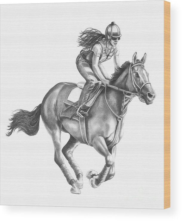 Horse Wood Print featuring the drawing Full Gallop by Murphy Elliott