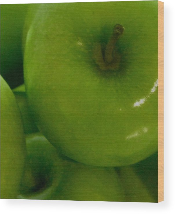 Green Apple Wood Print featuring the photograph Green Apple by Fanny Diaz