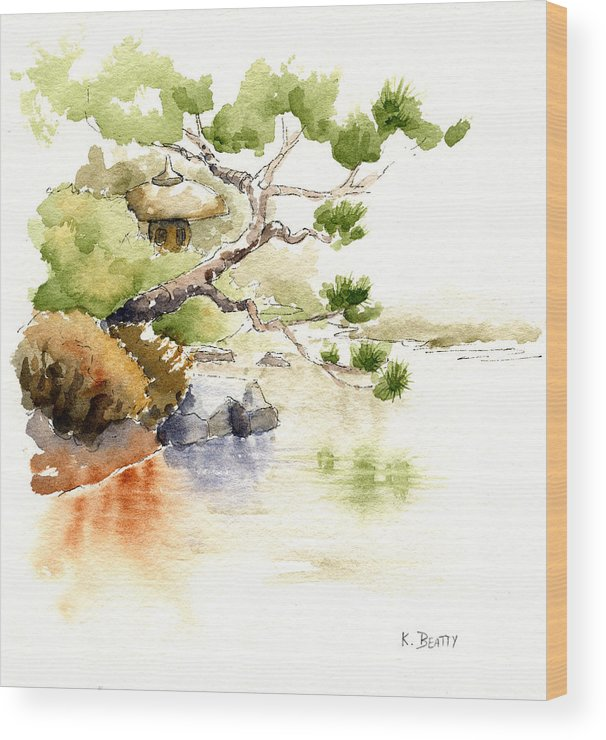 Watercolor Wood Print featuring the painting Japanese Garden Pond Sketch by Karla Beatty