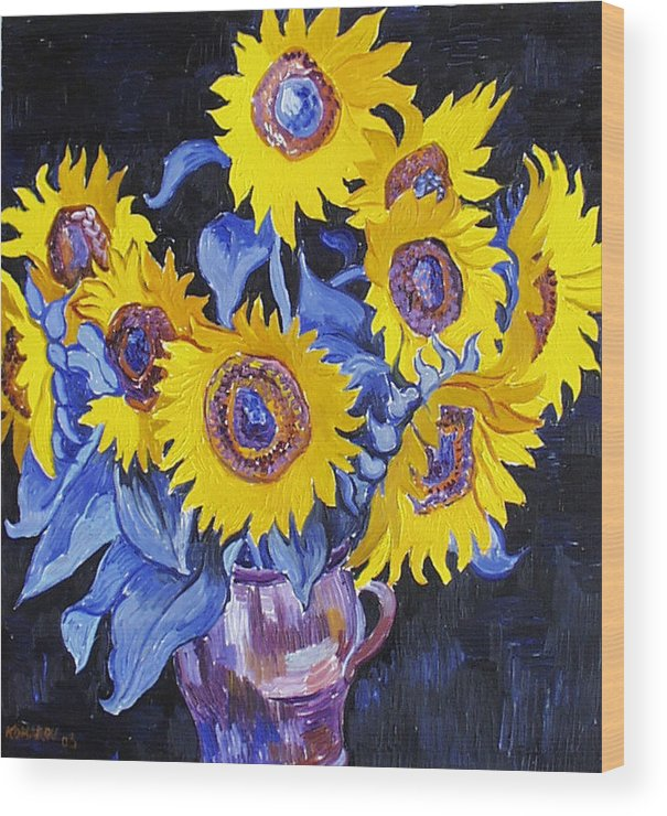 Sunflower Wood Print featuring the painting Nine Sunflowers With Black Background by Vitali Komarov