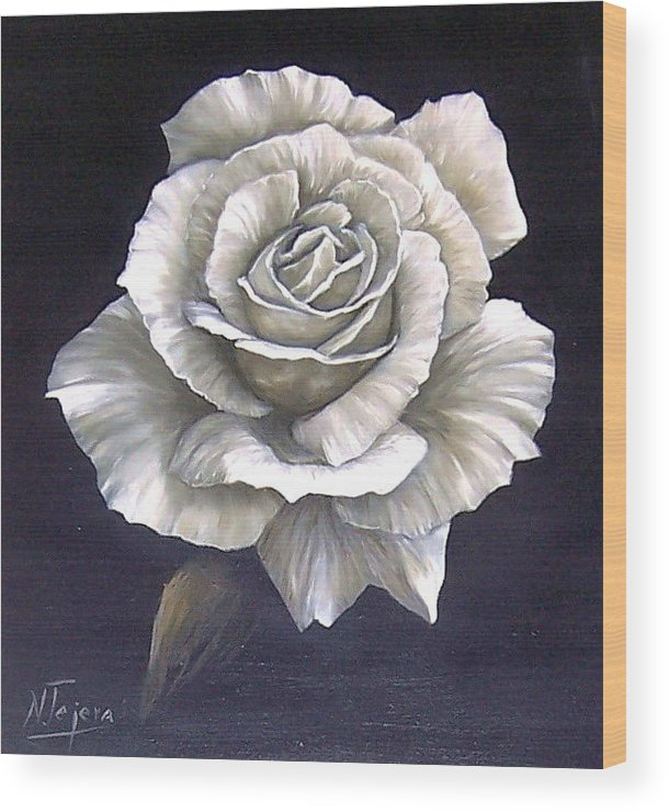 Rose Flower Wood Print featuring the painting Opened Rose by Natalia Tejera