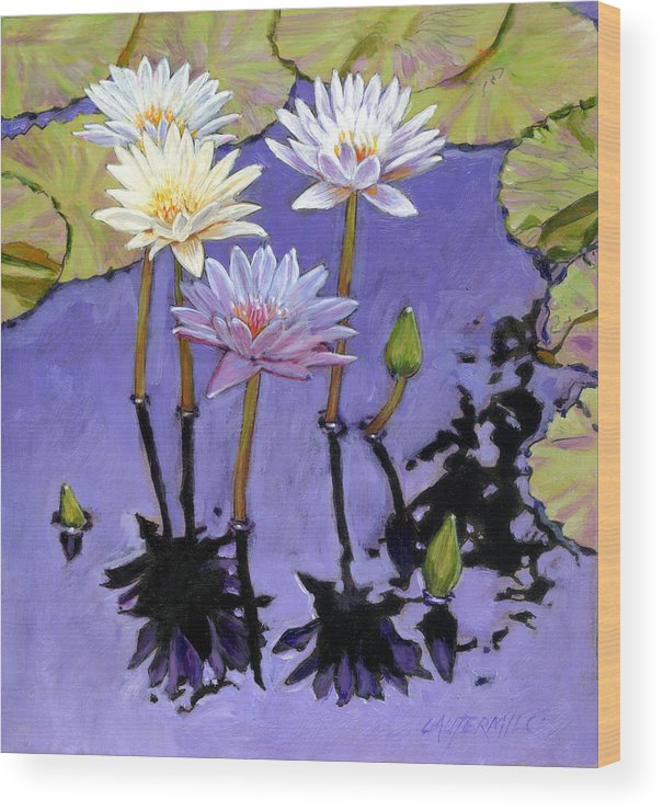 Water Lilies Wood Print featuring the painting Pastel Petals by John Lautermilch