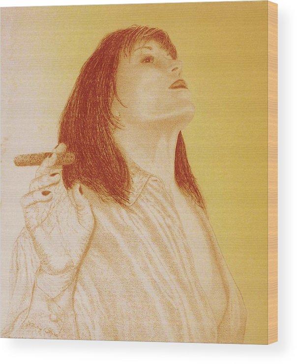 Female Woman Women Smoke Sexy Cigar Wood Print featuring the drawing Smoke N Fire by Tony Ruggiero