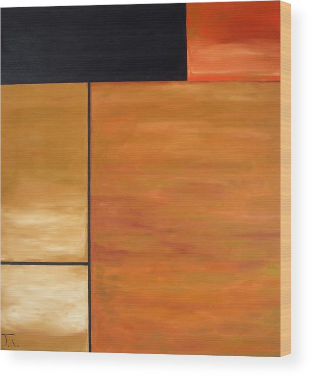 Brown And Black Rectangles Wood Print featuring the painting Study Of Rectangles by Troy Thomas