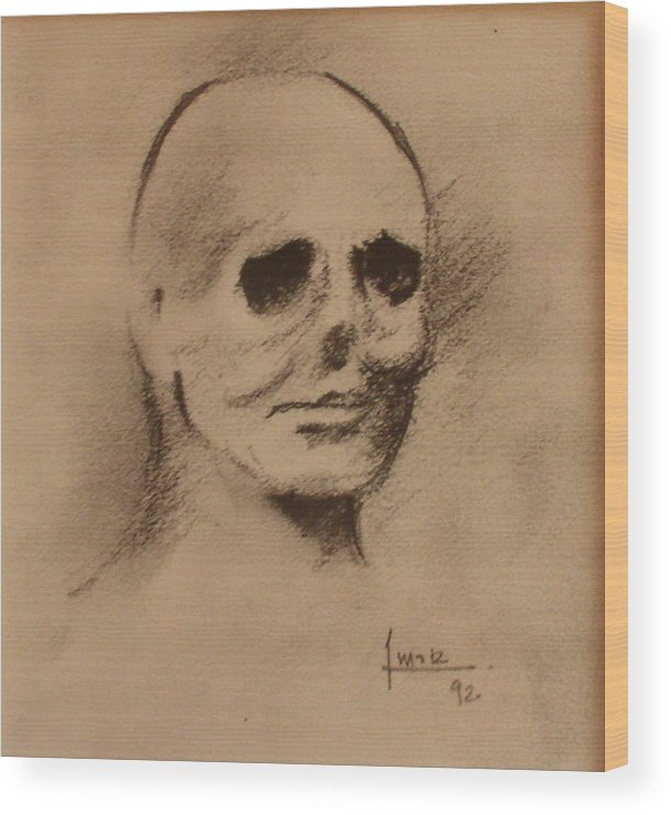 Face Wood Print featuring the drawing Untitled by Victor Amor