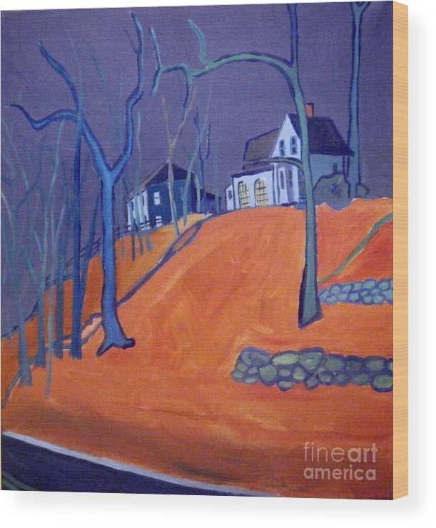 Houses On A Hill Wood Print featuring the painting Up Above Dunstable by Debra Bretton Robinson
