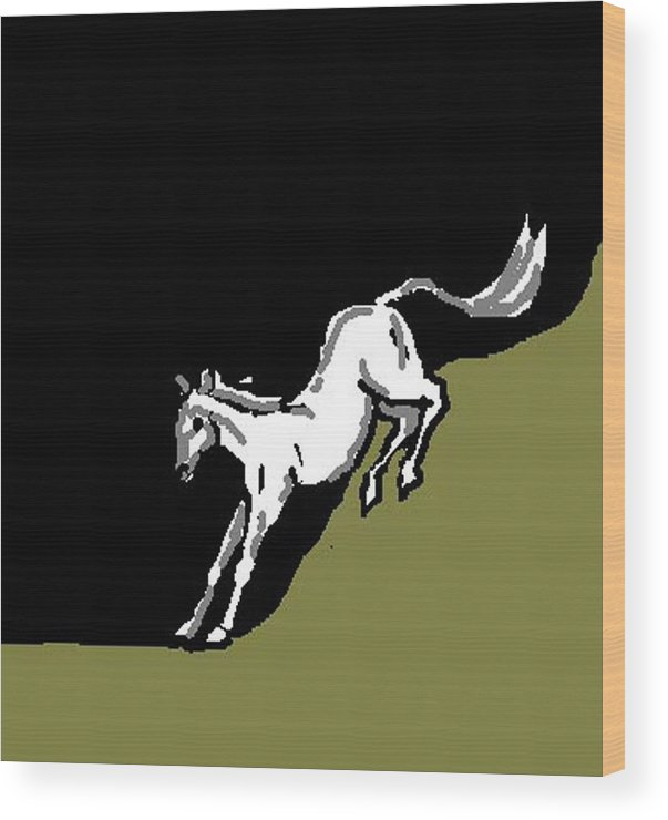 Horse Wood Print featuring the digital art Whee by Carole Boyd