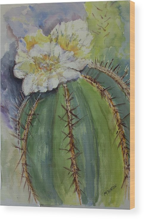 Cactus Wood Print featuring the painting Barrel Cactus In Bloom by Marilyn Barton