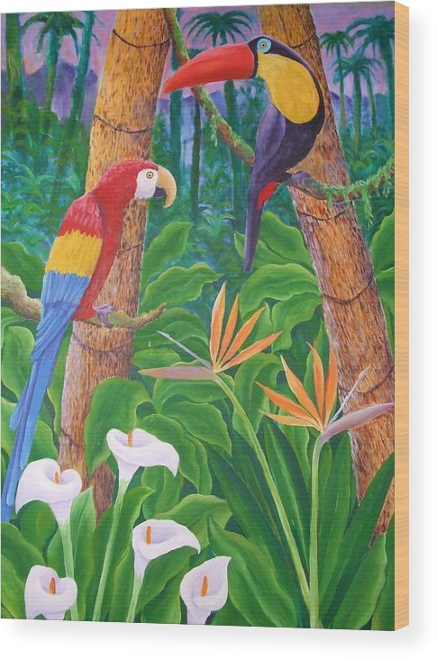 Tropical Landscape Birds Flowers Wood Print featuring the painting In The Jungle by Jubamo