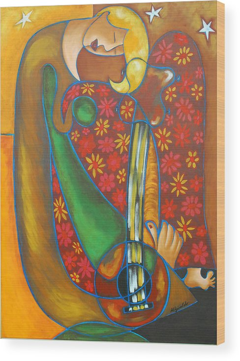 Abstract Expressionism Wood Print featuring the painting Maggie Guitar by Marta Giraldo