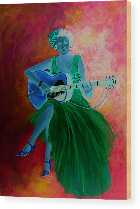 Blues Singers Wood Print featuring the painting Memphis Minnie by Kay Robinson