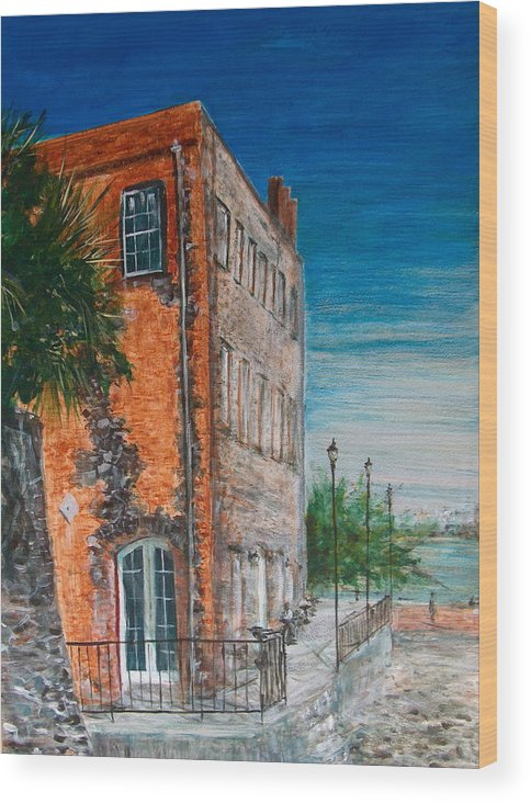 Savannah Wood Print featuring the painting River Street by Pete Maier