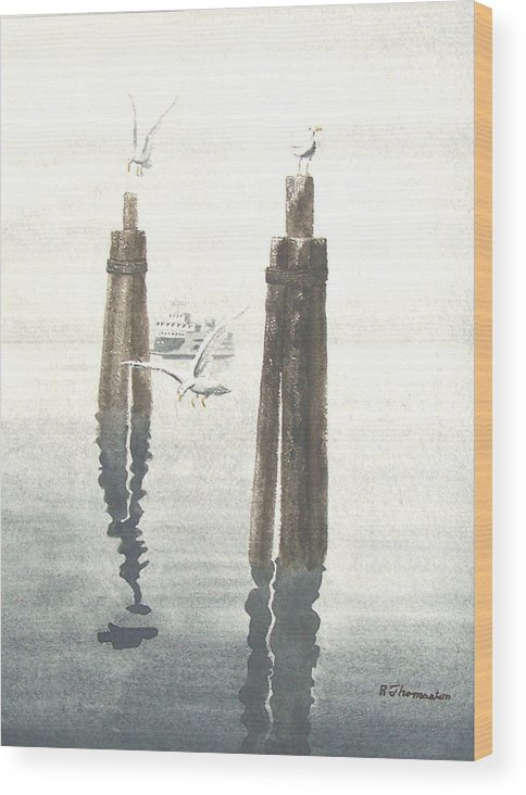Water Wood Print featuring the painting Seattle Ferry by Robert Thomaston