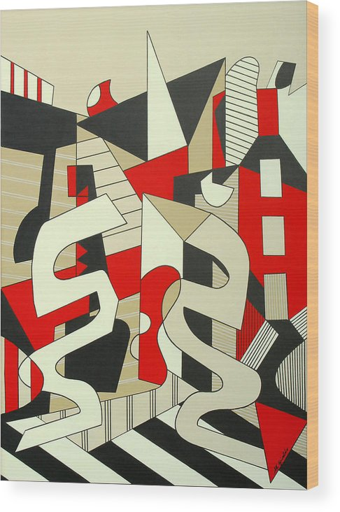 Abstract Expressionism Wood Print featuring the painting Tulcea by Marta Giraldo
