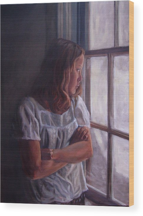 Woman At Window Wood Print featuring the painting Waiting by Tahirih Goffic