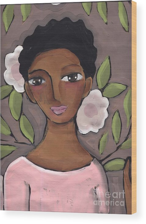 Face Wood Print featuring the painting Pink Flower by Elaine Jackson