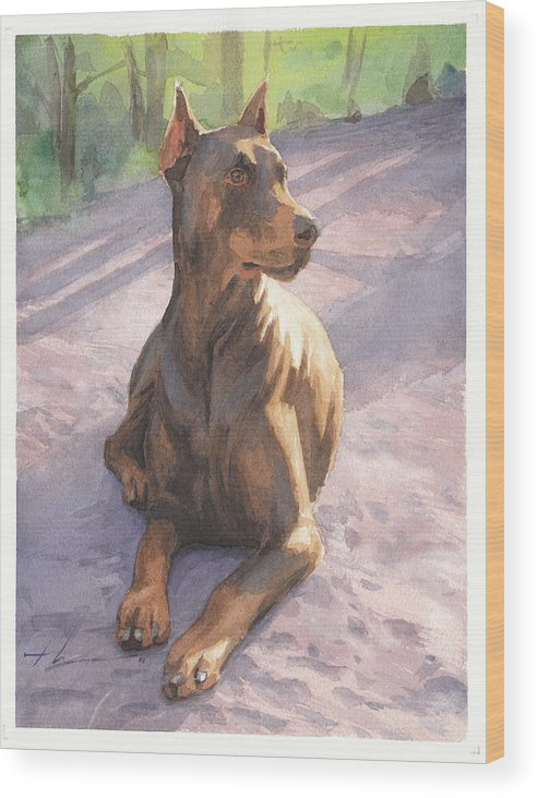 <a Href=http://miketheuer.com Target =_blank>www.miketheuer.com</a> Wood Print featuring the drawing Doberman Puppy Pencil Portrait by Mike Theuer