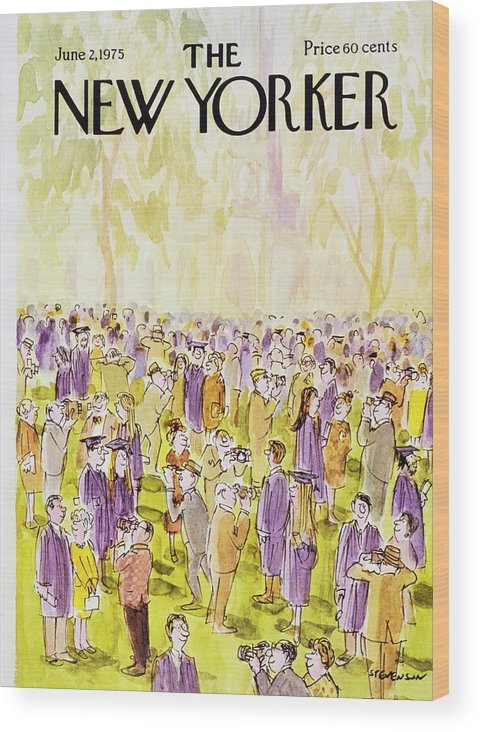 Illustration Wood Print featuring the painting New Yorker June 2nd 1975 by James Stevenson