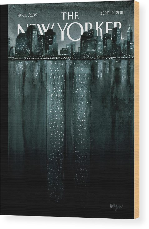 Trade Center Wood Print featuring the painting Reflections by Ana Juan