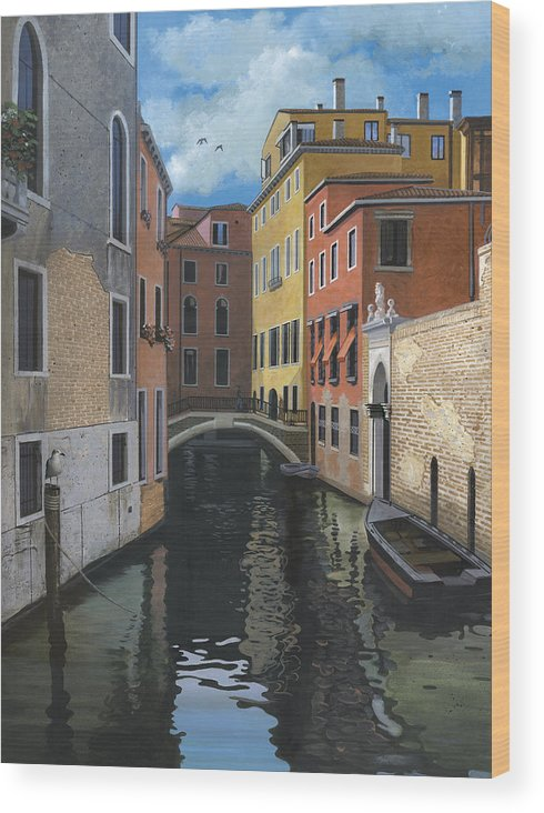 Venice Wood Print featuring the painting Canal Rhapsody by Harold Shull