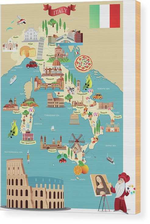 Adriatic Sea Wood Print featuring the digital art Cartoon Map Of Italy by Drmakkoy
