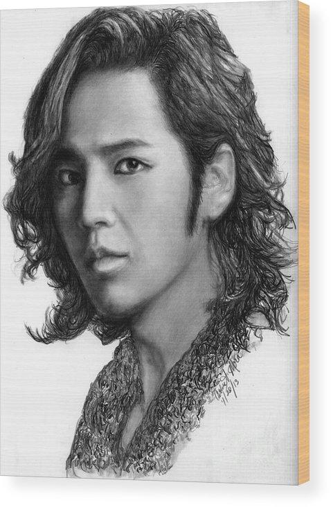 Actor Wood Print featuring the drawing Jang Geun Suk by Carliss Mora