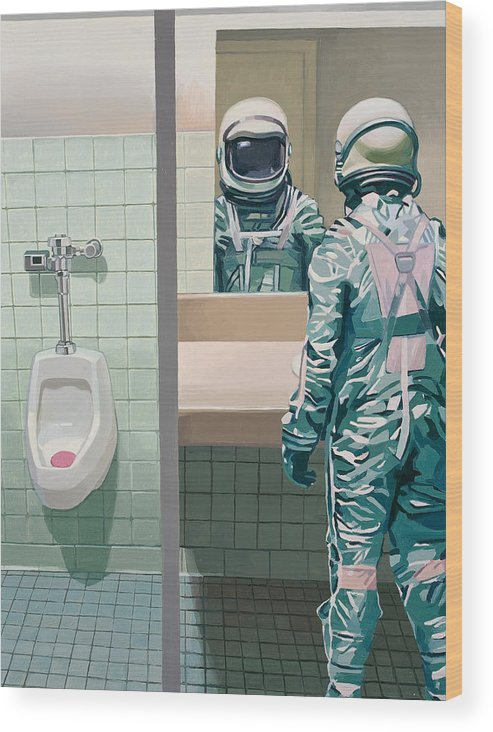 Astronaut Wood Print featuring the painting Men's Room by Scott Listfield