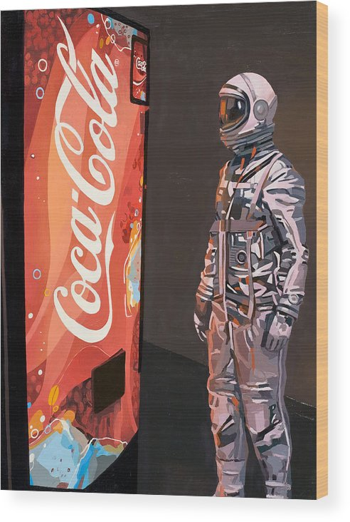 Astronaut Wood Print featuring the painting The Coke Machine by Scott Listfield