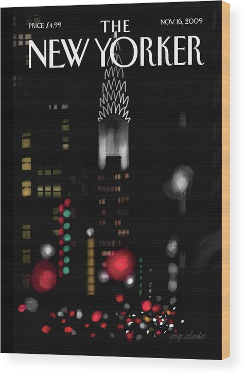 New York Wood Print featuring the painting Night Lights by Jorge Colombo