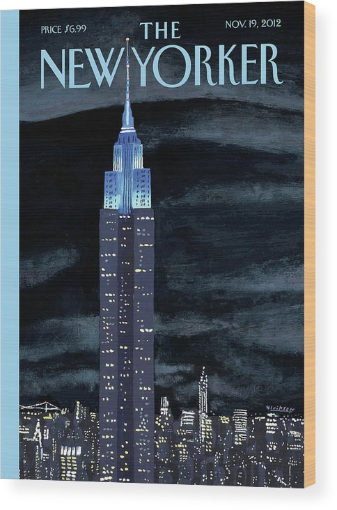 New York City Wood Print featuring the painting Rhapsody In Blue by Mark Ulriksen