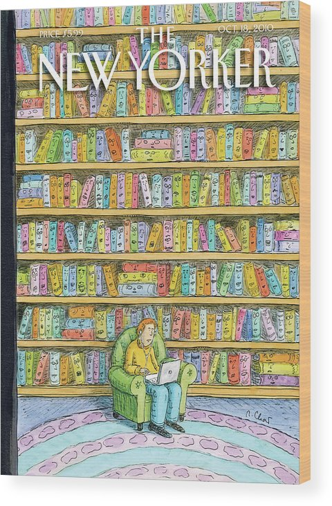 Computer Wood Print featuring the painting Shelved by Roz Chast