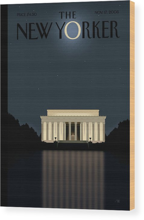 Lincoln Wood Print featuring the painting Reflection by Bob Staake