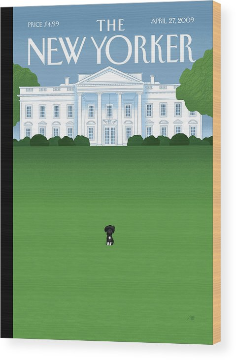 Obama Wood Print featuring the painting Bo by Bob Staake