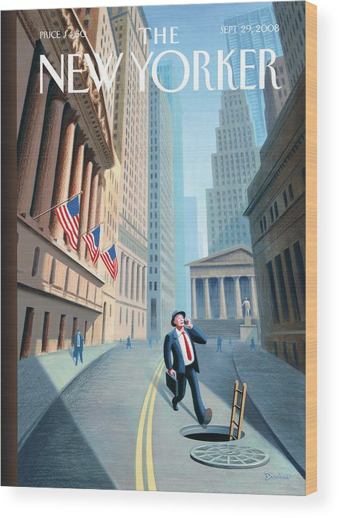 Wall Street Wood Print featuring the painting Downward Mobility by Eric Drooker