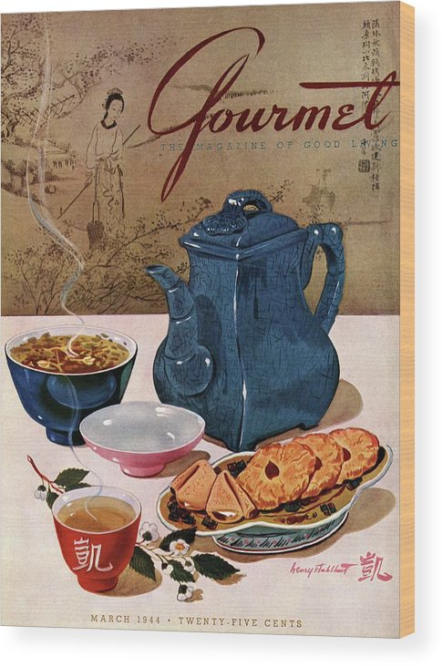 Food Wood Print featuring the photograph A Chinese Tea Pot With Tea And Cookies by Henry Stahlhut