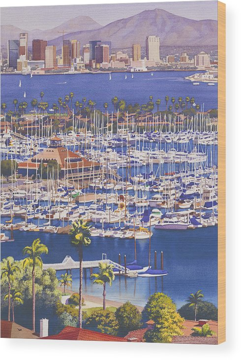 San Diego Wood Print featuring the painting A Clear Day in San Diego by Mary Helmreich