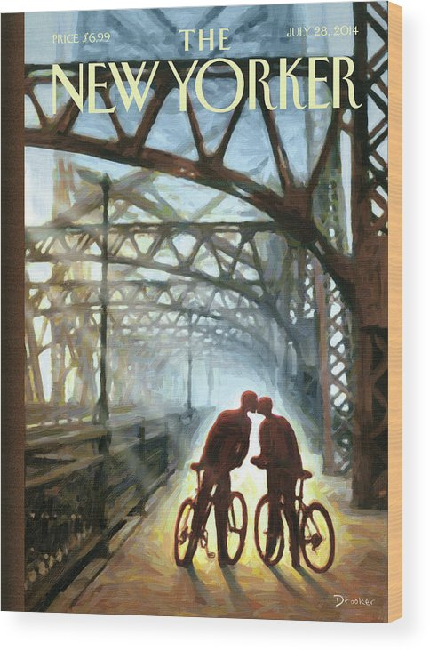 Bicycle Wood Print featuring the painting Fifty Ninth Street Bridge by Eric Drooker