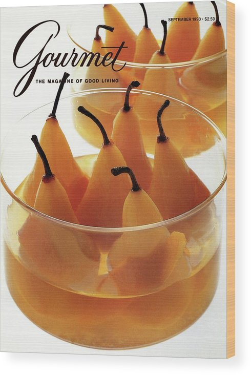 Food Wood Print featuring the photograph A Gourmet Cover Of Baked Pears by Romulo Yanes