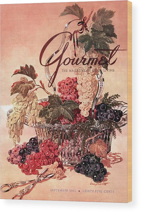 Illustration Wood Print featuring the photograph A Gourmet Cover Of Grapes by Henry Stahlhut