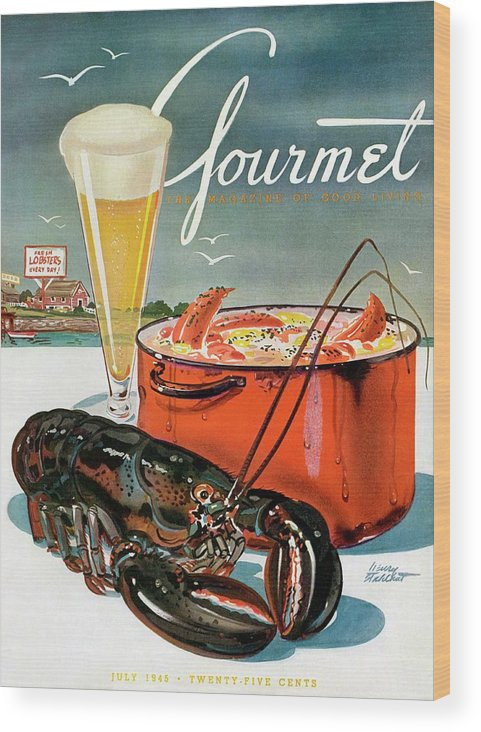 Illustration Wood Print featuring the photograph A Lobster And A Lobster Pot With Beer by Henry Stahlhut