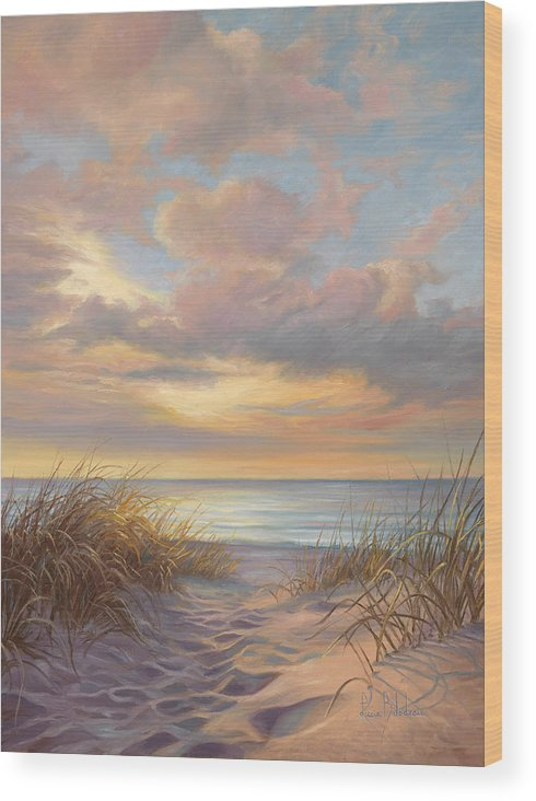 Beach Wood Print featuring the painting A Moment Of Tranquility by Lucie Bilodeau