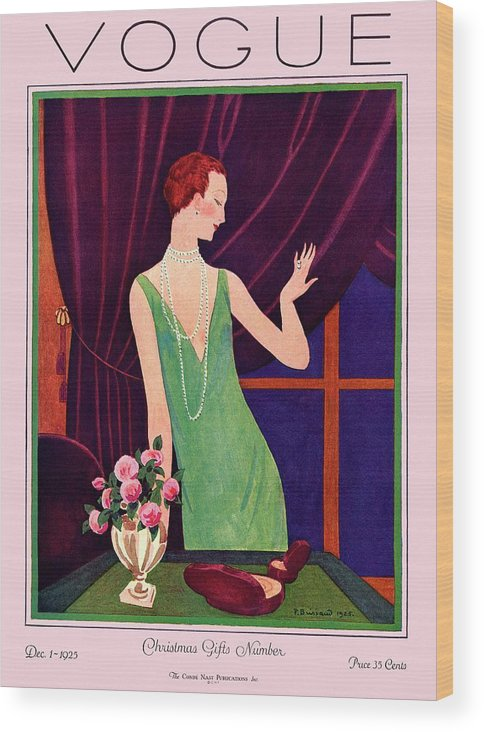Illustration Wood Print featuring the photograph A Vogue Cover Of A Woman Trying On Jewelry by Pierre Brissaud