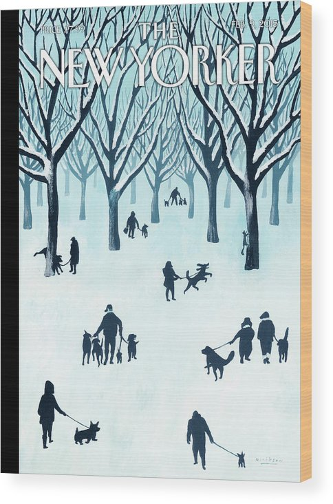 Snow Wood Print featuring the painting A Walk In The Snow by Mark Ulriksen