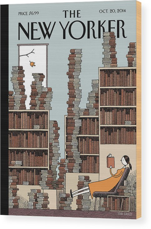Books Wood Print featuring the painting Fall Library by Tom Gauld