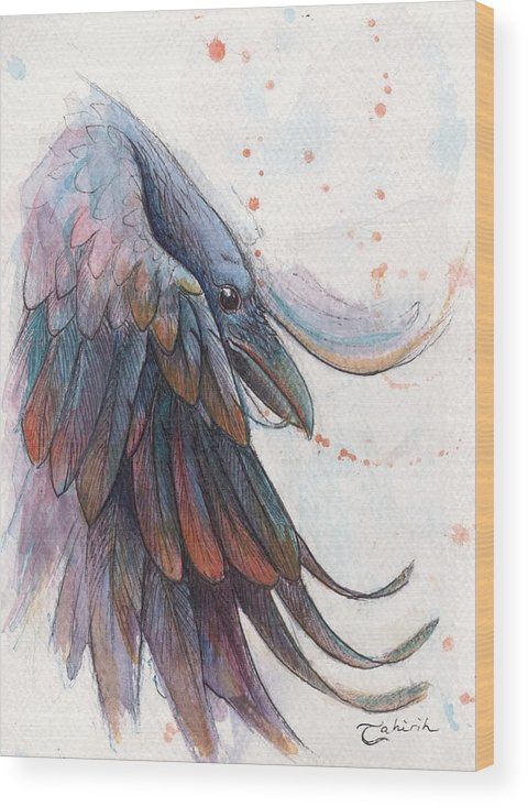 Raven Wood Print featuring the painting Ascension by Tahirih Goffic