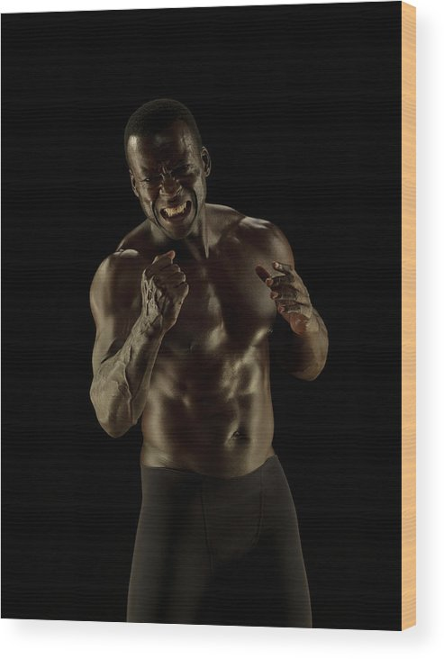 Toughness Wood Print featuring the photograph Athletic Female, Angry Shout, Clenched by Jonathan Knowles
